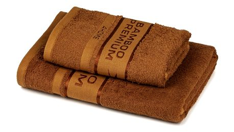 4Home Sada Bamboo Premium osuška a ručník hnědá, 70 x 140 cm, 50 x 100 cm