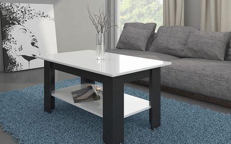 Konferenční stolek ELAJZA, černá/bílý lesk