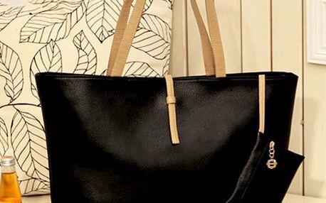 Dámská jednobarevná kabelka - černá barva - dodání do 2 dnů