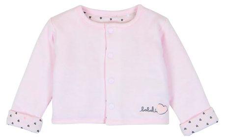BOBOLI Oboustraný rozepínací kabátek - vnitřní potisk , 56 cm - světle růžová, holky