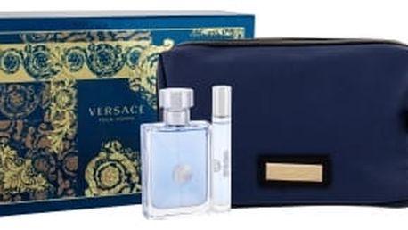 Versace Pour Homme dárková kazeta pro muže toaletní voda 100 ml + toaletní voda 10 ml + kosmetická taška