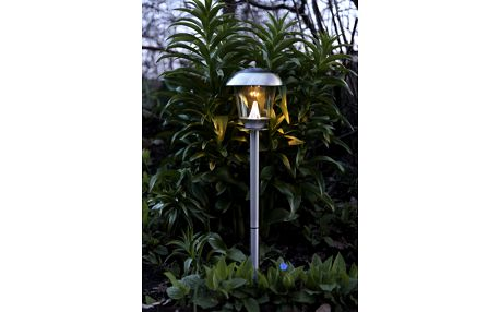 STAR TRADING Zahradní světlo na solární napájení Steel 66 cm, stříbrná barva, sklo, kov