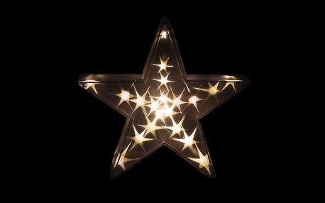 Nexos 33479 Vánoční dekorace - 3D hvězda - teple bílá 20 LED, 35 cm
