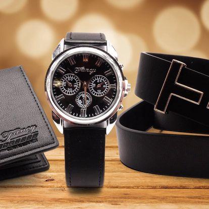 Dárkový set pro muže: hodinky, opasek a peněženka