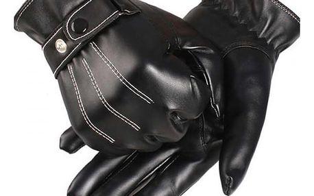 Pánské koženkové rukavice v černé barvě
