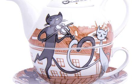 3dílná čajová sada Kočky ve městě