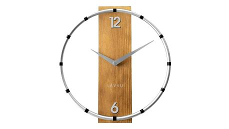 Nástěnné hodiny Lavvu Compass Wood stříbrná, pr. 31 cm