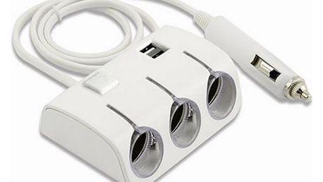 Trojnásobný rozbočovač autozásuvky s USB a LED světlem