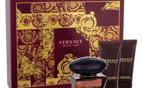 Versace Crystal Noir dárková kazeta pro ženy toaletní voda 50 ml + tělové mléko 50 ml + sprchový gel 50 ml