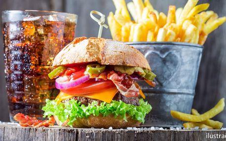 Hovězí burger z Anguse, hranolky a Pepsi