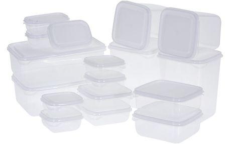 Sada plastových dóz s víky, 17 ks, bílá