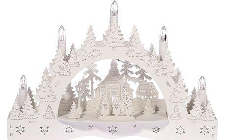 Vánoční LED svícen Zimní krajina, koledníci před kostelem, 35 x 23 x 7,5 cm