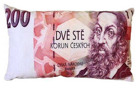 JAHU Polštářek Bankovka 200 Kč, 35 x 60 cm