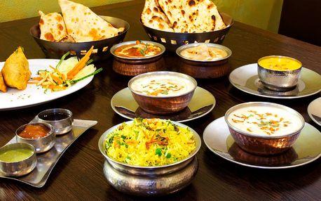 Indické menu s kuřecím i vege pro 2 osoby