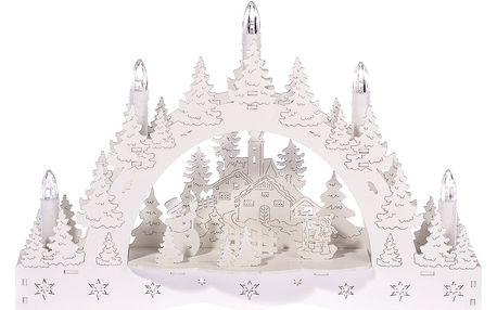Vánoční LED svícen Zimní krajina, kostel a krmítko, 35 x 23 x 7,5 cm
