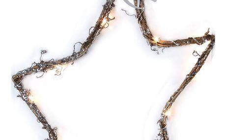 STAR TRADING Svítící závěsná proutěná hvězda LED Star, hnědá barva, proutí
