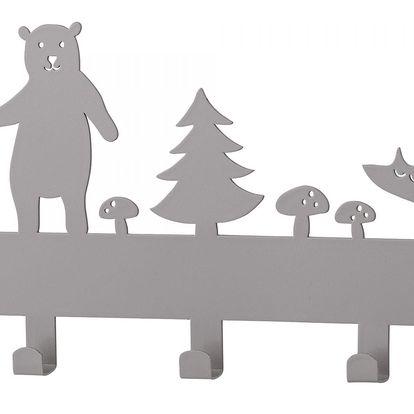 Bloomingville Dětský věšák Wood animals, šedá barva, kov