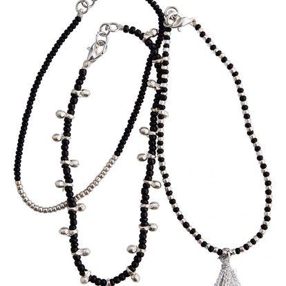 MADAM STOLTZ Set tří náramků Nai Disha Black/Silver, černá barva, stříbrná barva, plast
