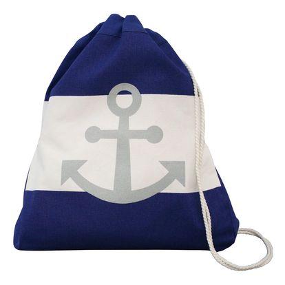 Krasilnikoff Látkový batůžek Blue Anchor, modrá barva, bílá barva, textil