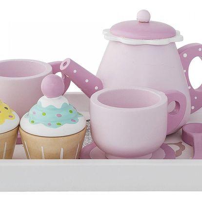 Bloomingville Dřevěná čajová sada pro děti, růžová barva, dřevo