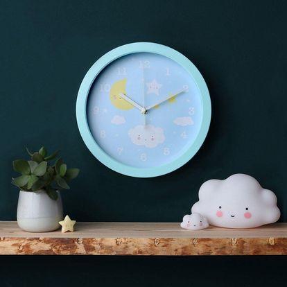 A Little Lovely Company Dětské nástěnné hodiny - Night Sky, modrá barva, bílá barva, plast