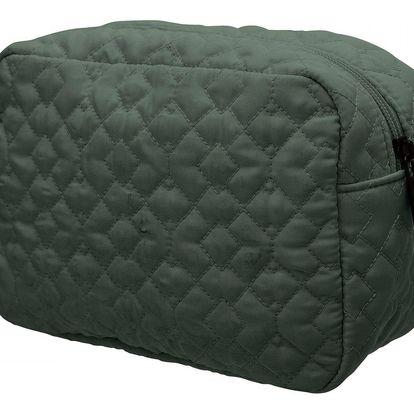 Bloomingville Prošívaná kosmetická taška Green, zelená barva, textil