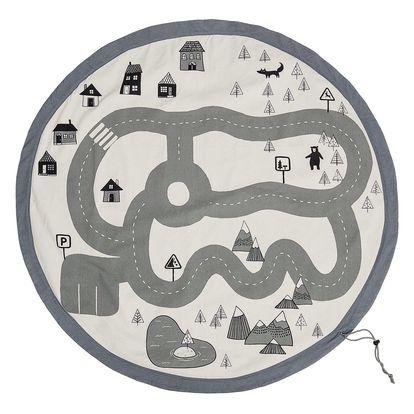Bloomingville Bavlněný úložný pytel Travel, šedá barva, černá barva, bílá barva, textil
