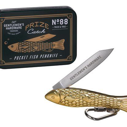 GENTLEMEN'S HARDWARE Kapesní nožík Fish Brass, černá barva, zlatá barva, kov
