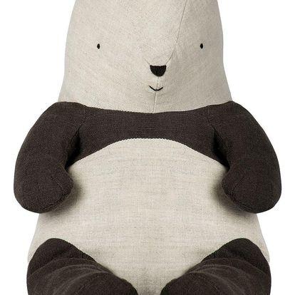 Maileg Textilní panda - medium, černá barva, krémová barva, textil