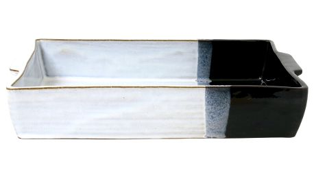 HK living Kameninová zapékací mísa Dip, černá barva, bílá barva, keramika