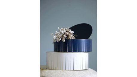 KÄHLER Plechové dózy Hammershøi - set 2 ks, modrá barva, bílá barva, kov