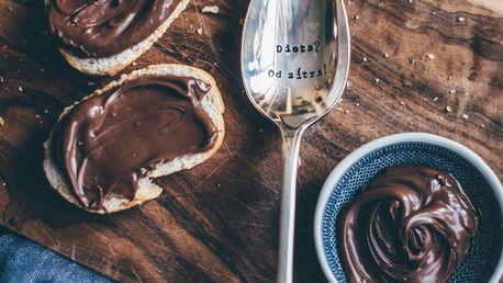 La de da! Living Postříbřená dezertní lžíce Dieta? Od zítra!, stříbrná barva, kov