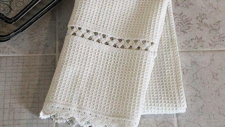 Chic Antique Utěrka Crochet Edge, krémová barva, textil