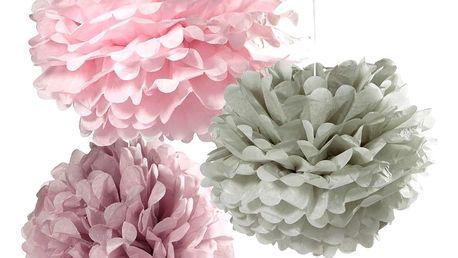 Talking Tables Dekorativní papírové pompomy Purple - set 3 ks, růžová barva, fialová barva, šedá barva, papír