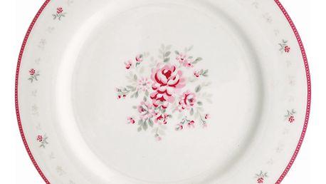 GREEN GATE Obědový talíř Flora white, růžová barva, bílá barva, porcelán