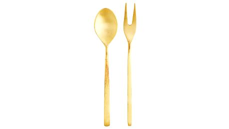 MADAM STOLTZ Mosazná servírovací lžička a vidlička Gold, zlatá barva, kov