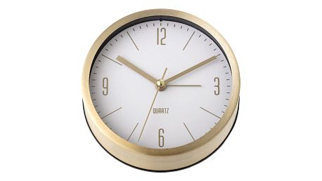 Bloomingville Stolní hodiny Aluminium Gold, bílá barva, zlatá barva, sklo, kov