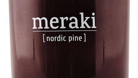 meraki Vonná svíčka Nordic Pine - 10,5 cm, hnědá barva, sklo