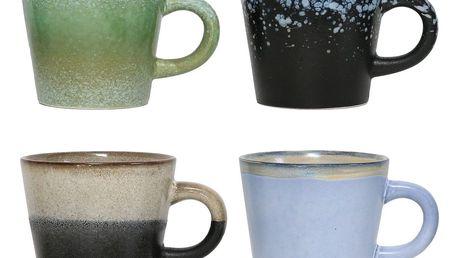 HK living Keramický hrneček na cappuccino 70's Modrý, modrá barva, zelená barva, béžová barva, černá barva, keramika