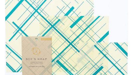 Bee's Wrap Ekologický potravinový ubrousek Green-3ks, zelená barva, textil