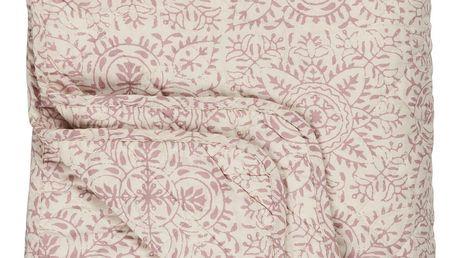 IB LAURSEN Prošívaná deka Quilt Flower 130 x 180 cm, krémová barva, kůže