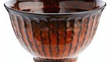 MADAM STOLTZ Oranžová kameninová miska Stoneware, oranžová barva, černá barva, kámen
