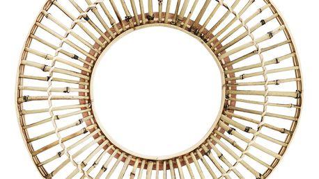 MADAM STOLTZ Zrcadlo v bambusovém rámu Natural, hnědá barva, sklo, dřevo