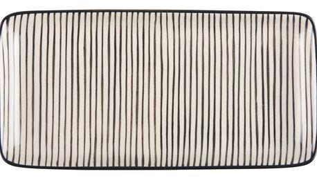 IB LAURSEN Tácek Casablanca black stripe, černá barva, krémová barva, keramika