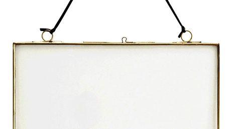 MADAM STOLTZ Rámeček na fotku z dvojitého skla Brass Big, zlatá barva, čirá barva, sklo, kov
