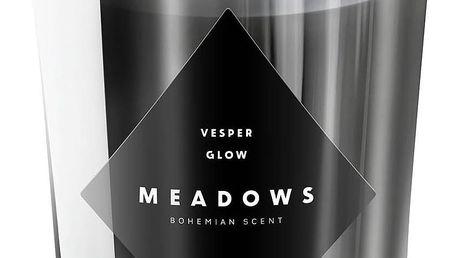MEADOWS Luxusní vonná svíčka Vesper Glow, šedá barva, stříbrná barva, sklo