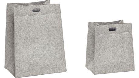 Hübsch Plstěný koš Grey Square Větší, šedá barva, textil