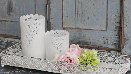 Chic Antique Zinkový podnos Lace white, bílá barva, kov