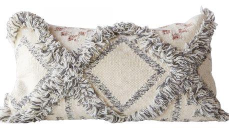Bloomingville Polštář Grey Wool Rectangle, šedá barva, bílá barva, textil