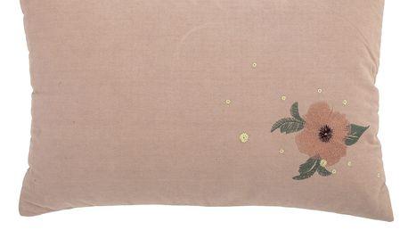Bloomingville Polštář Flower Embroidery Nude, růžová barva, béžová barva, textil